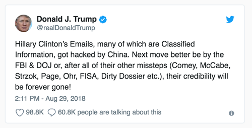 Trump's rage on Twitter re Hillary Clinton's emails getting hacked